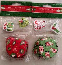 Wilton Cupcake Kit 48 Cups 48 Picks Christmas Holiday Time Red Green Bake 2 Pks.