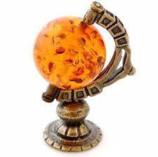 World Globe Brass Bronze Miniature Figurine Baltic Amber Table Decor Dollhouse