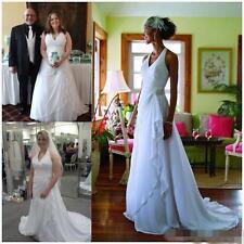 White Ivory Halter Pleats Chiffon Beach Wedding Dresses Plus Size Bridal Gowns