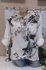 Camicia fischerhemd tunica camicetta OVERSIZE Fiori Bianco Batik 40 42 44