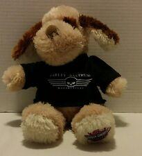 """2008 Plush 13"""" HARLEY DAVIDSON KICKSTAND JR Puppy Dog w/ Logo Tee Tan Fluffy"""