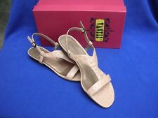 Vintage Pair Vaneli Bessie Light Taupe Leather T Strap Sandal 9 N 9 Narrow Shoes