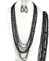 Handmade Balinese Long Black Layered Seed Bead Earrings Necklace Jewelry Set