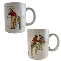 Lot of 2 Norman Rockwell Coffee Mugs Cups Closed for Business and Trout Dinner