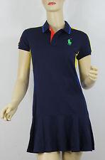 Ralph Lauren Polo US Open Tennis Dress Big Pony Womens Large Blue Yellow Green