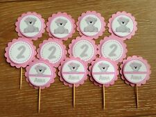 Teddy Bear Personalised Cupcake Topper ~Pink~for Birthday, Baby Shower, Christen
