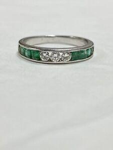 1 ctw Genuine Round Diamonds & Princess Cut Emeralds Band Ring 14k White Gold