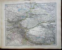 Inner Asia Tibet Nepal Himalyas Gobi Desert Punjab 1891 Stieler detailed map