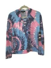 Nwt, Almost Famous Womens Size Medium Pink & Blue Tie Dye Hoodie Pullover