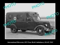 OLD POSTCARD SIZE PHOTO OF INTERNATIONAL HARVESTER D15 AMBULANCE RAAF 1941