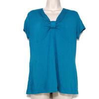 DressBarn Stretch Knit Top Women Size L Blue-Green Short Sleeve Stretch