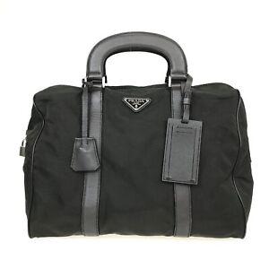 100% Authentic PRADA Nylon Handbag Green [Used] {08-0316}