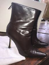 JIMMY CHOO Brown Leather Pointed Toe Heeled Ankle Boots Size 36.5