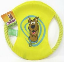 "Dog Toy Fabric Disc With 11"" Rope Ring Scooby Doo Theme Dog Training Yellow"