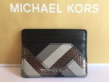NWT Michael Kors Black Small Wallet Marquetry Patchwork Travel Leather Card Case