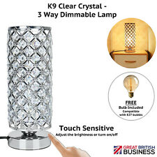 Crystal Table Lamp, 3 Way Touch Dimmable Bedside Modern Light - Bulb Included,UK