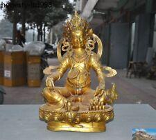 Old Tibet Buddhism bronze Gilt Yellow Jambhala Wealth Mammon God Buddha Statue