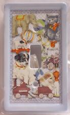 Blue Ceramic Baby Nursery Switch Plate Puppies Horse Elephant Toys New (Eaa)