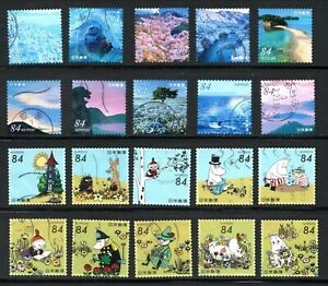2021 Used Commemorative Stamps 2 Complete Sets I, 84 yens 20 diff. Stamps.