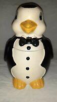Vintage 1985 North American Ceramics Penguin Cookie Jar Tuxedo Bow Tie.
