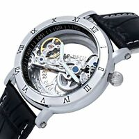 Black Bridge Skeleton Self Wind Automatic Mechanical Wrist Watch Leather Analog