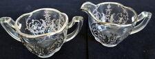 Vintage Sterling Silver Overlay Glass Cream & Sugar Set