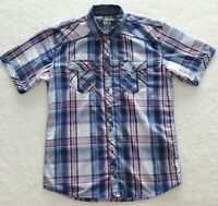 Men's Buckle BKE Large Standard Fit Short Sleeve Pink Blue Plaid Button Up Shirt