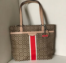 COACH SIGNATURE STRIPE JACQUARD 6CM TOTE BAG PURSE F27008 KHAKI HOT ORANGE $268