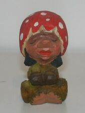 Vintage Hand Carved Wood Troll - Henning - Norway Mushroom Hat Lady Folk Art
