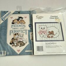Vintage needlepoint kits cats and teddy bears Dimensions needlepoint lot