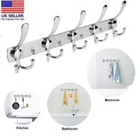 15 Hooks Stainless Steel Coat Robe Hat Clothes Wall Mount Hanger Towel Rack US