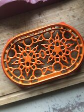 New ListingBeautiful~Le Creuset~Red/Orange Enamel Cast Iron~Double Trivet~Made In France