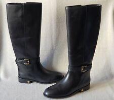 NIB Tory Burch 7 7.5 8 Brooke Knee High Tall Riding Boots Leather Black LOGO