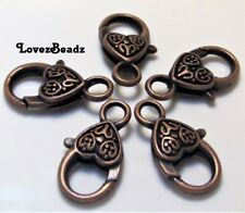 5 Large Antiqued Copper Ornate Heart Lobster Claw Clasps-25mm--Jewelry Making