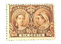 Canada 55 OG H Unused 6c Victoria 1897 Jubilee -Cat $230.00