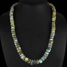 GENUINE 475.70CTS NATURAL BLUE FLASH ROUND FACETED LABRADORITE  BEADS NECKLACE