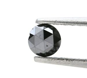 Rustic Natural Fancy Real Diamond 0.45Ct Black Sparkling Round Rose Cut for Gift