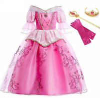 Girls Sleeping Beauty Dress Aurora Princess Party Cosplay Costume Girl Ball Gown