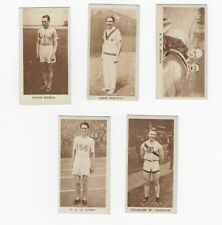 (5) Diff. 1929 Godfrey Phillips Sporting Champions Tobacco Cards, nice condition