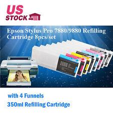 8pcs/set Epson Stylus Pro 7880 / 9880 Refilling Cartridge 350ml with 4 Funnels