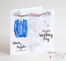 Personalised WEDDING DAY Card - BRIDE AND GROOM Outfits - Friends