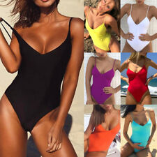 Solid One Piece Women Sexy Swimsuit Halter Bandage Bikini Swimwear Bathing Suit