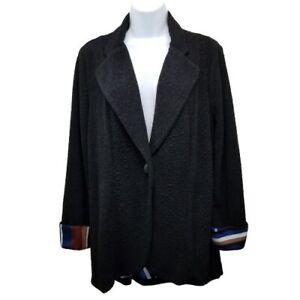 Travelers Chicos 1 Jacket Blazer Slinky Knit Black Stripe Trim Medium 8 Textured