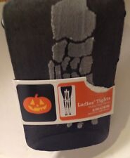 Womens Pantyhose Tights Skeleton Goth Halloween Size S/M Black
