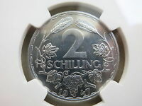 AUSTRIA 2 schilling 1947 NGC PF 66 PROOF UNC Superb quality