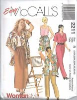 McCall's Sewing Pattern # 2211 Women's Shirt Top Pants Skirt Size 18W-20W-22W
