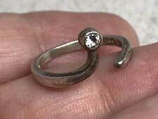 Vintage Avon Sterling Silver Cubic Zirconia Adjustable Open Wrap Ring