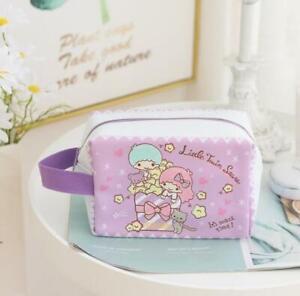 little twin stars purple PU Makeup Bag Cosmetic handbag wallet storage cartoon