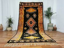 Morocco Vintage Handmade wool Carpet Boujaad Berber Rug 5x10 Taznakht Black Rug