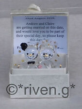 SAVE THE DATE PERSONALISED Bride and Groom Bears@Glass@WEDDING INVITATION CARD